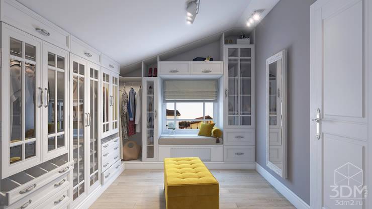 Дизайн гостиной, кабинета и гардеробной: Гардеробные в . Автор – студия визуализации и дизайна интерьера '3dm2'