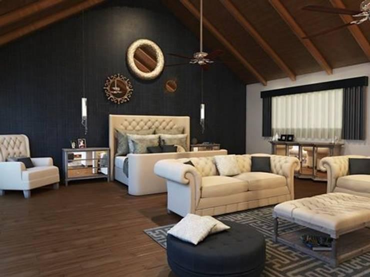 Residencia AC: Recámaras de estilo  por Interiorisarte