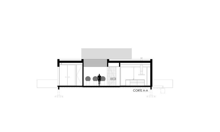CORTE AA: Casas de estilo  por VISMARACORSI ARQUITECTOS