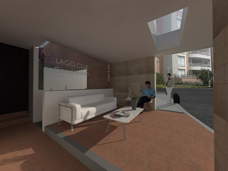 Ampliacion Lobby - Porteria Condominio Lago Club: Casas de estilo moderno por MODOS Arquitectura