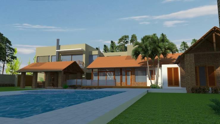 Imagen desde parque.: Casas de estilo  por Arq.Rubén Orlando Sosa