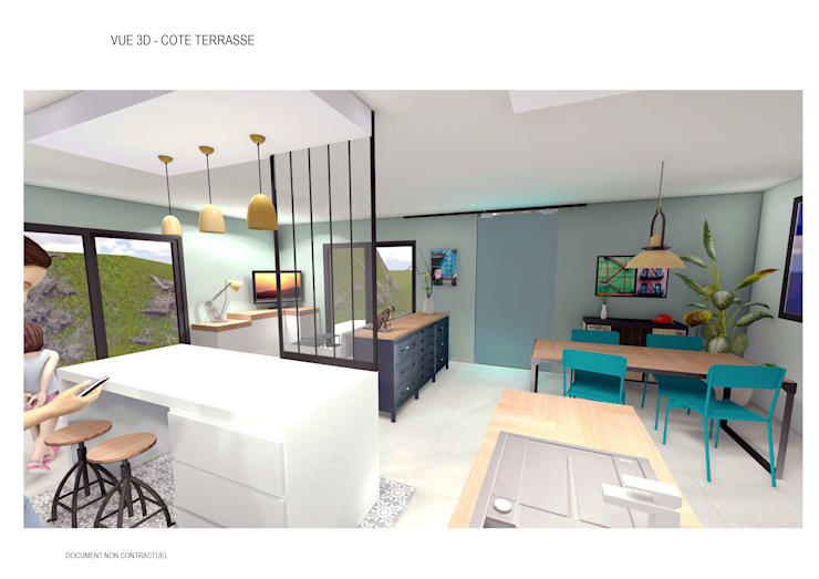 aménagement intérieur d\'une pièce de vie style industrielle ...