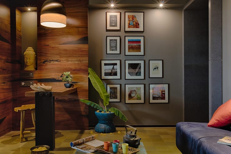 Reception area:  Study/office by RUST the design studio,Rustic Wood Wood effect