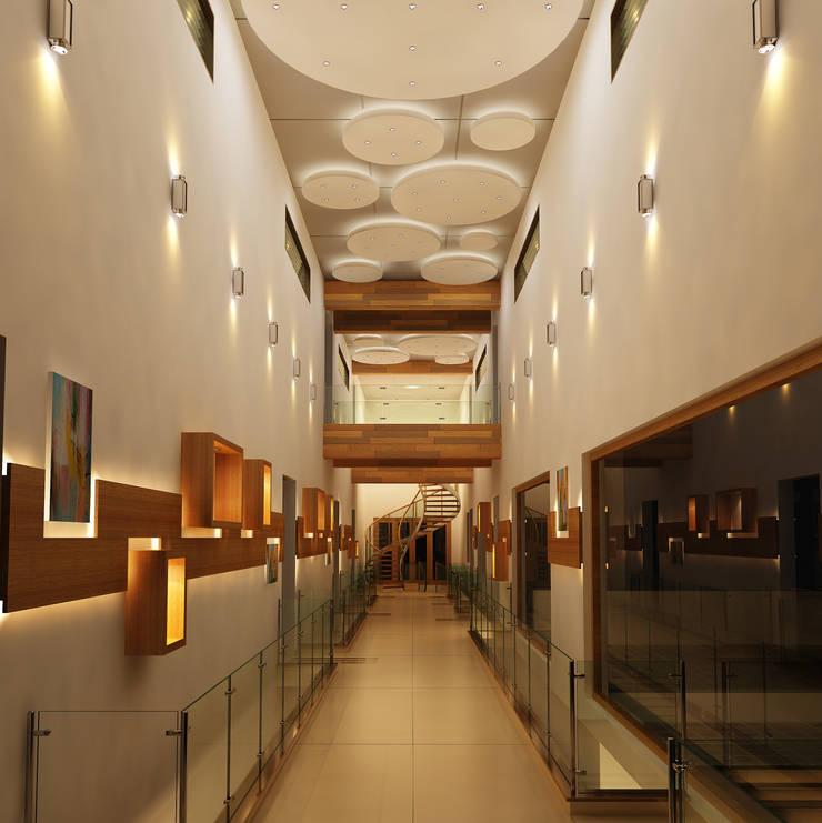 Mr. Ramesh Residence at Neyveli:  Corridor & hallway by Dwellion,Modern