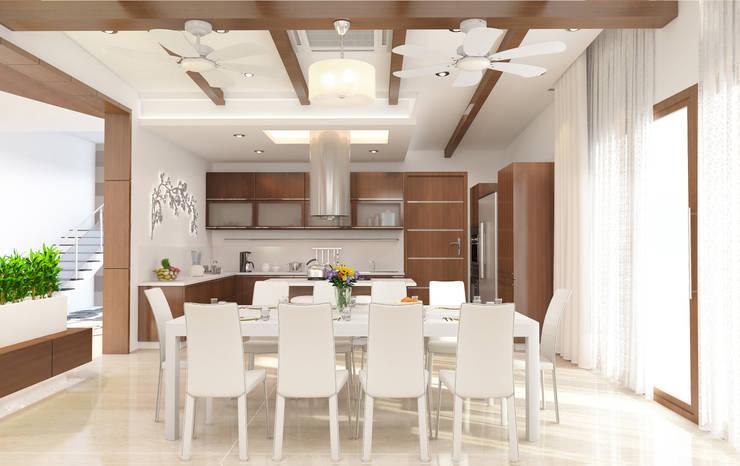 Mr. Ramesh Residence at Neyveli:  Dining room by Dwellion,Modern