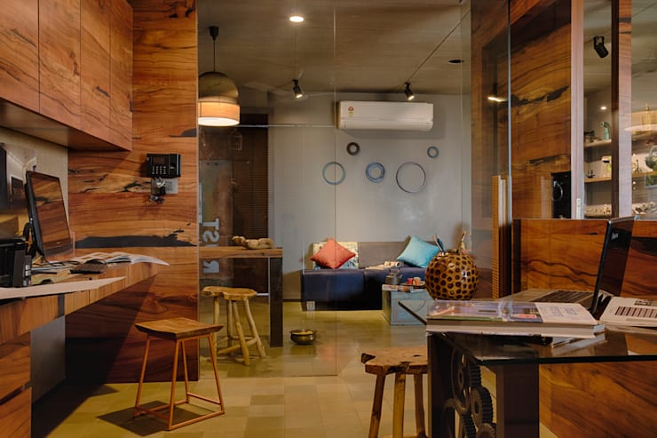 Staff area:  Study/office by RUST the design studio,Rustic Wood Wood effect