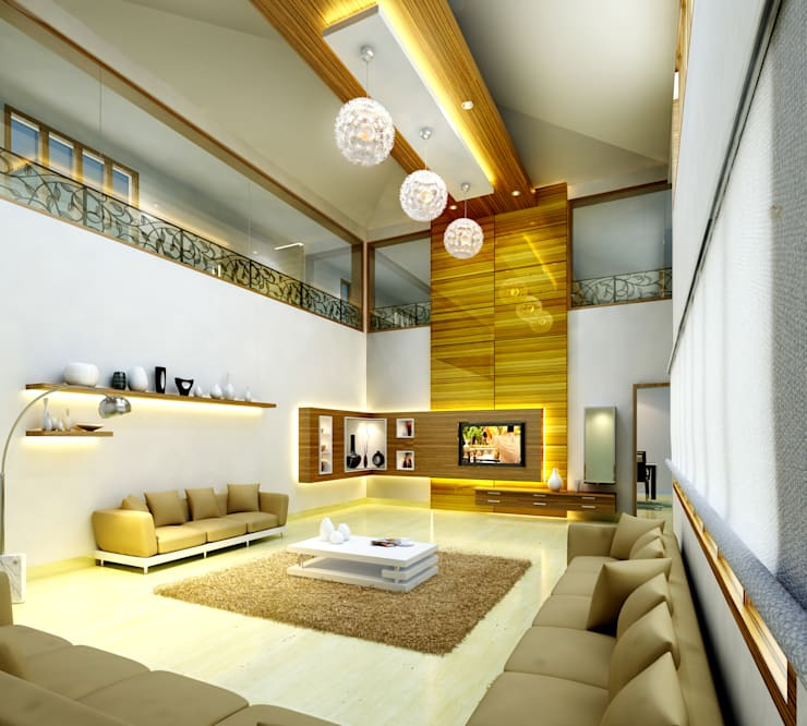 Mr. Ehiya Residence at Tanjore:  Living room by Dwellion,Modern