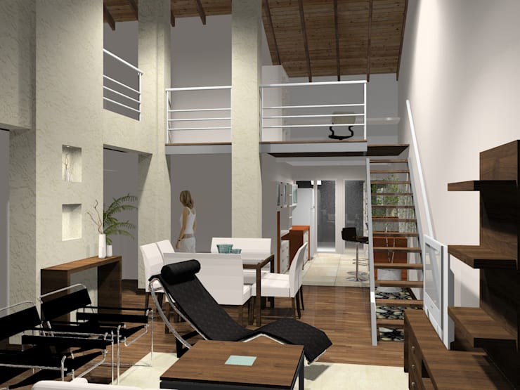estar/comedor + entrepiso: Livings de estilo  por laura zilinski arquitecta,