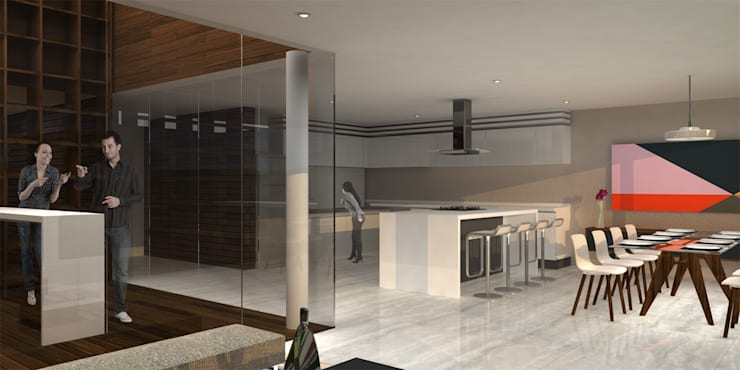Casa Bosque Real - RIMA Arquitectura: Pasillos y recibidores de estilo  por RIMA Arquitectura