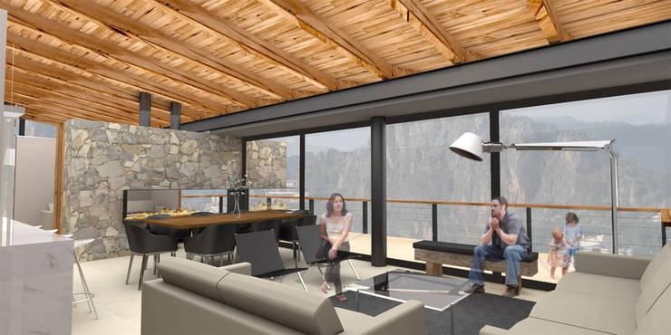 Casa Valle Monte - RIMA Arquitectura: Salas de estilo  por RIMA Arquitectura