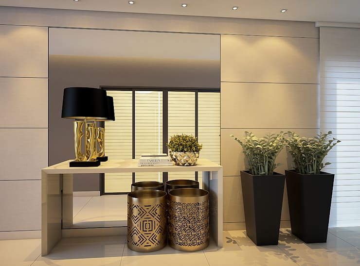 Projeto de Arquitetura de Interiores para áreas sociais de um Edifício Multifamiliar: Corredores e halls de entrada  por Tárcyla & Savane Arquitetas Associadas
