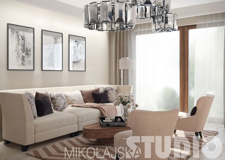 new york style living room: styl , w kategorii  zaprojektowany przez MIKOŁAJSKAstudio
