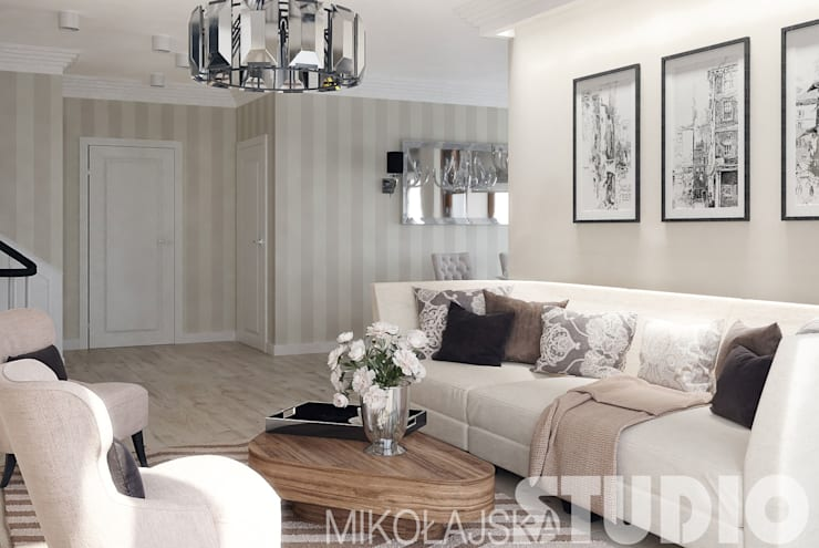 salon NY-style: styl , w kategorii  zaprojektowany przez MIKOŁAJSKAstudio