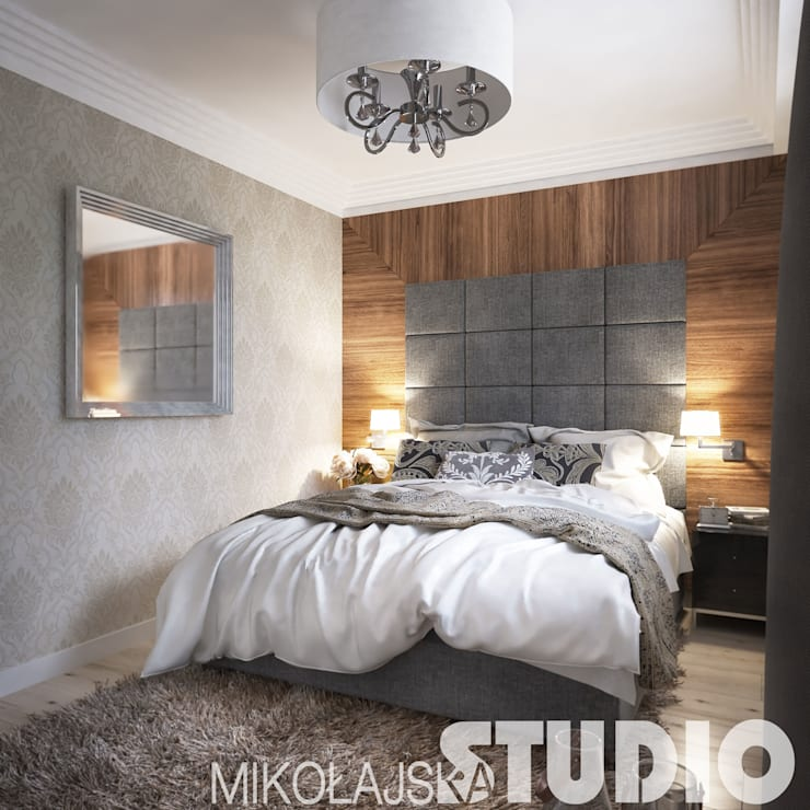 new york style bedroom: styl , w kategorii  zaprojektowany przez MIKOŁAJSKAstudio