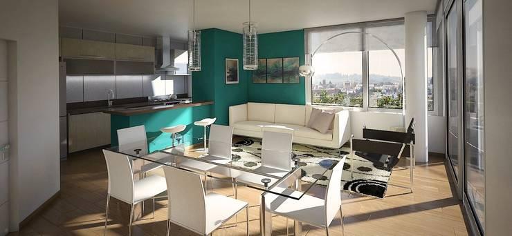 Departamento 2 dormitorios: Livings de estilo  por Arcadia Arquitectura