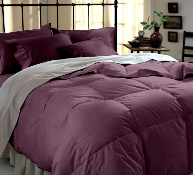 Cotton Rich Sateen Purple Double High thread count 500TC bed Sheet with 2 pillow covers:  Bedroom by FurnishTurf