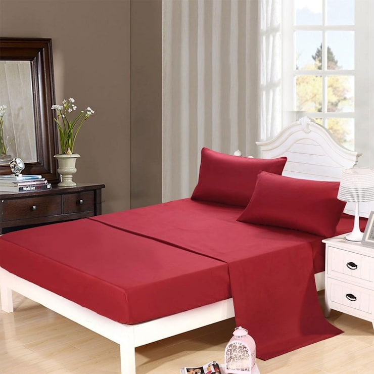 100% Cotton Sateen Red Double High thread count 400TC bed Sheet with 2 pillow covers :  Bedroom by FurnishTurf