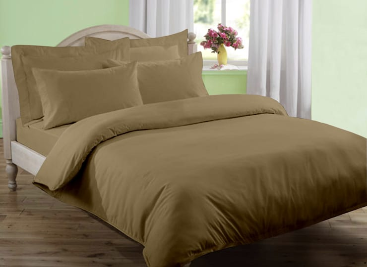 100% Cotton Sateen Khaki Double High thread count 400TC bed Sheet with 2 pillow covers :  Bedroom by FurnishTurf