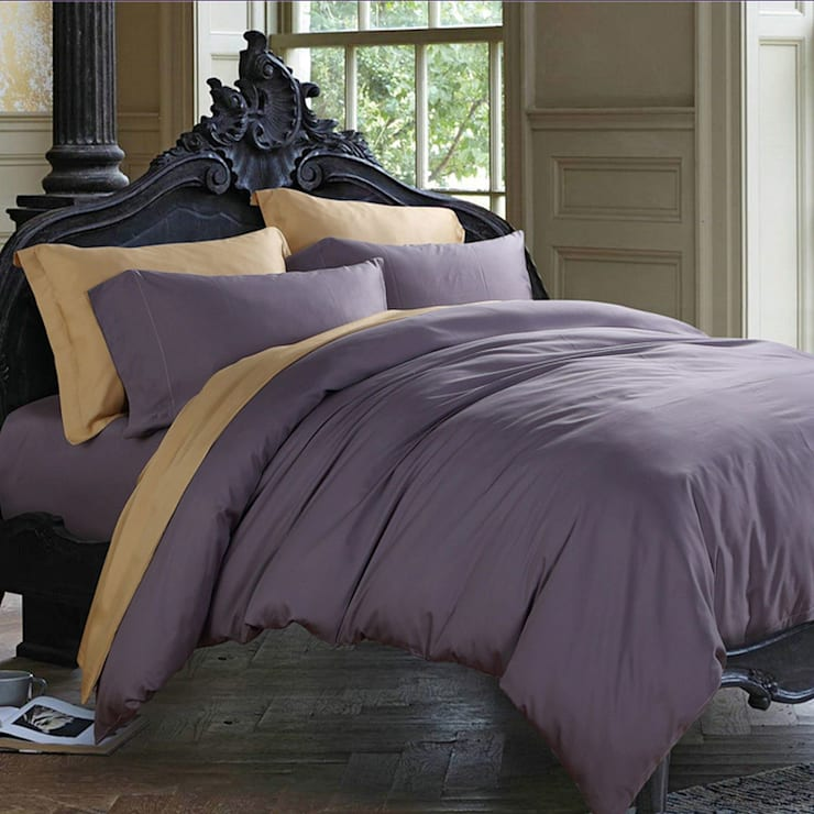 100% Cotton Sateen Violet Double High thread count 600TC bed Sheet with 2 pillow covers:  Bedroom by FurnishTurf