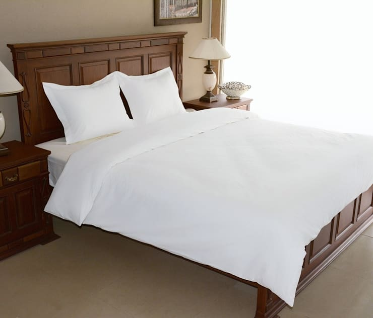 100% Cotton Sateen White Double High thread count 600TC bed Sheet with 2 pillow covers:  Bedroom by FurnishTurf
