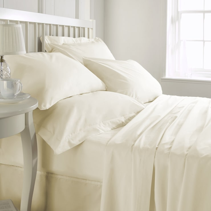 100% Cotton Sateen Beige Double High thread count 600TC bed Sheet with 2 pillow covers:  Bedroom by FurnishTurf