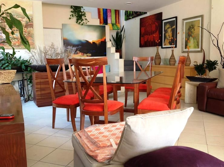 COMEDOR TZALAM CUBIERTA CRISTAL: Comedor de estilo  por EL DIVÁN Arquitectura & Diseño de Interiores