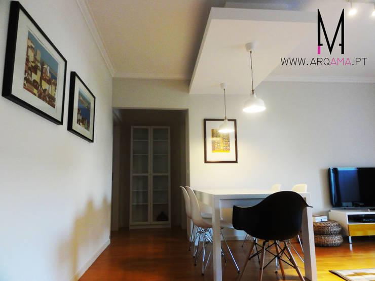 Casa Amélia Rey: Salas de jantar  por ARQAMA - Arquitetura e Design Lda