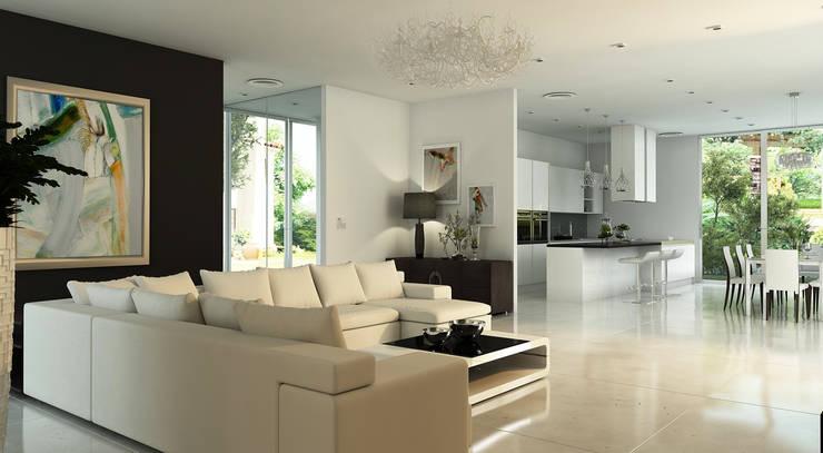 интерьер кухни совмещенной с гостиной, вилла в Италии: Гостиная в . Автор – студия Design3F, Минимализм