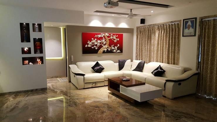 living room:  Living room by NCA  naresh chandwani & associates,Modern Wood-Plastic Composite