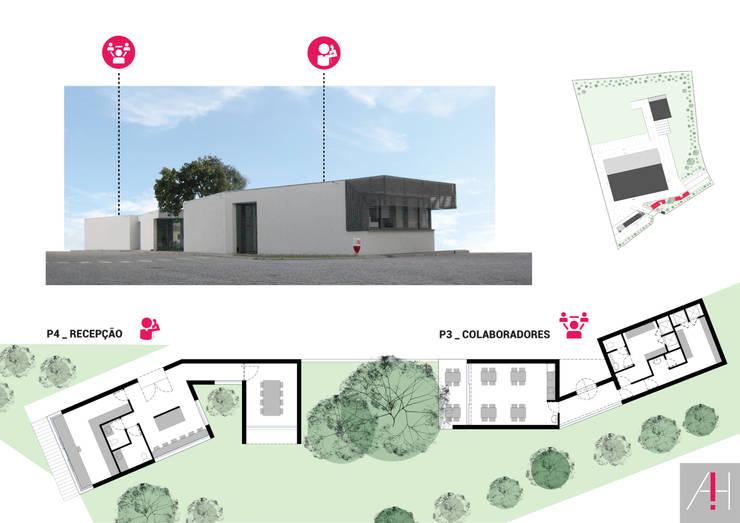 Plantas do pavilhão P3 / Colaboradores e P4 / Recepção:   por Aurora Fernandes e Helena Alves - Arquitectas Associadas Lda.