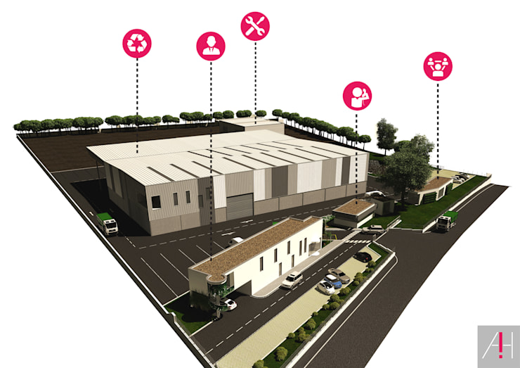 Maqueta virtual do edificado.:   por Aurora Fernandes e Helena Alves - Arquitectas Associadas Lda.