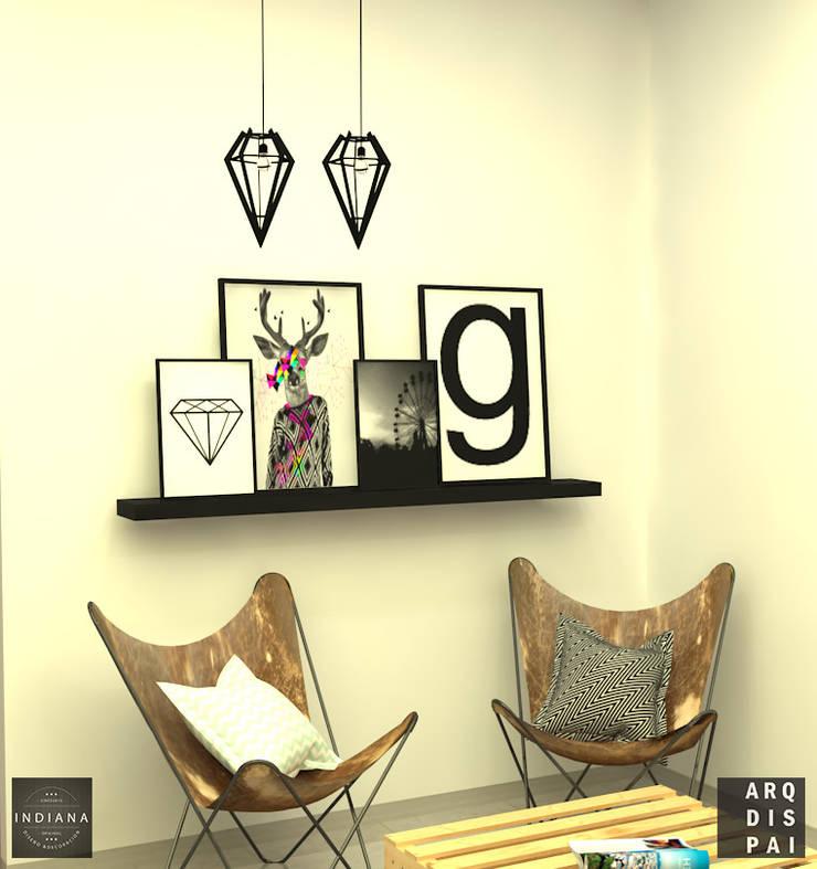 Living Neutro con elementos tipo escandinavos: Livings de estilo  por Arquitecto Ariel Ramírez,Escandinavo Derivados de madera Transparente