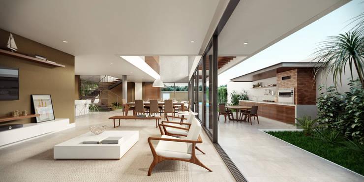 Casa C: Salas de estar minimalistas por Martins Lucena Arquitetos