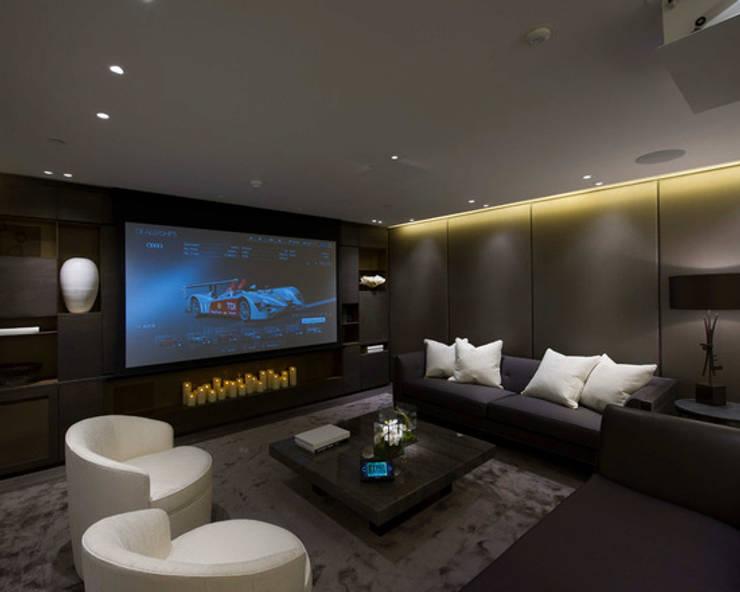 modern Media room by Crestron