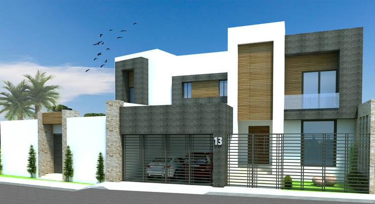 FACHADA PRINCIPAL: Casas de estilo  por Acrópolis Arquitectura