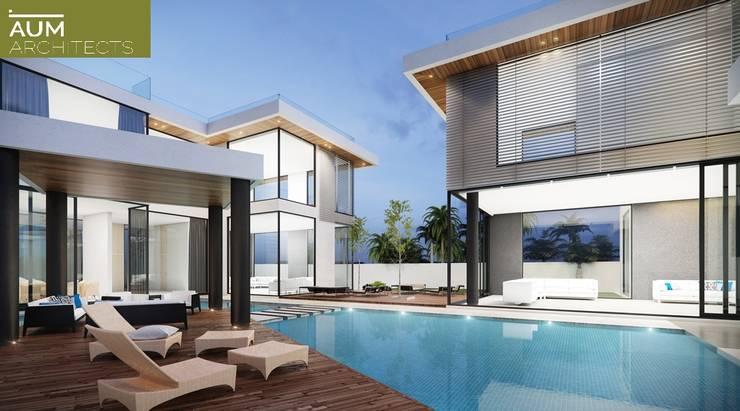 24000 sqft (2230 sqm) double Villa in Dubai:  Pool by Aum Architects