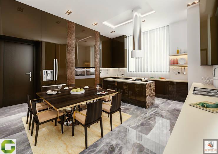 24000 sqft (2230 sqm) double Villa in Dubai: modern Kitchen by Aum Architects