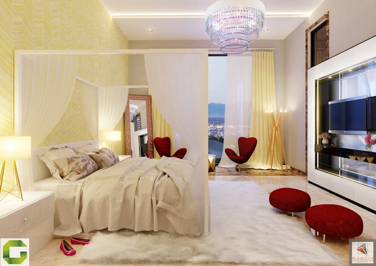 24000 sqft (2230 sqm) double Villa in Dubai:  Bedroom by Aum Architects