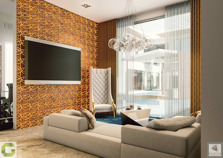24000 sqft (2230 sqm) double Villa in Dubai: modern Media room by Aum Architects