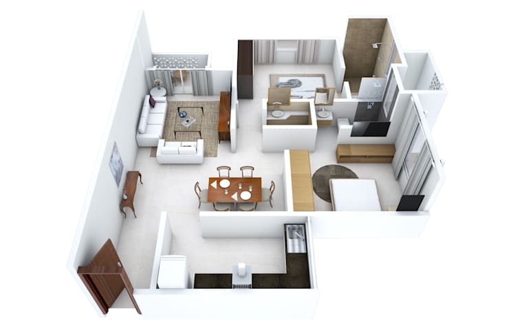 2 bedroom apartment:   by Aum Architects