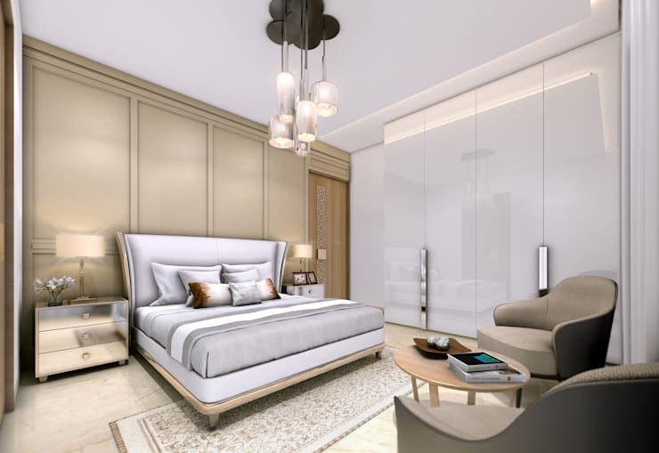 22 Floors Residential Building: classic Bedroom by Aum Architects
