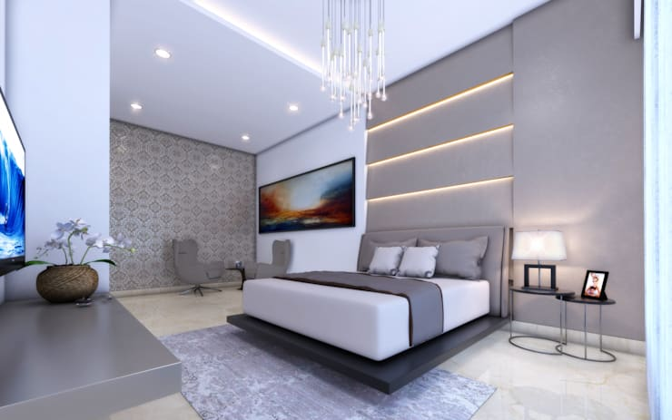22 Floors Residential Building: minimalistic Bedroom by Aum Architects
