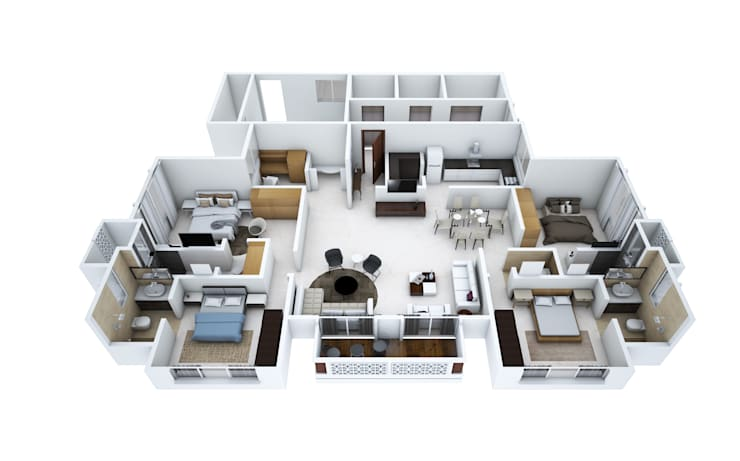 4 bedroom apartment:   by Aum Architects