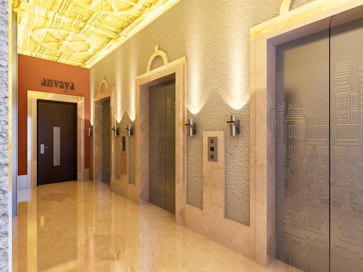 Lift Lobby:  Corridor & hallway by Aum Architects
