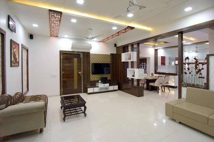 TV Panelling  for Drawing Room:  Living room by KRUTI