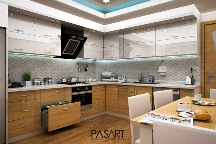 PASART DESİGN – BAĞÇEŞME PROJE 3D GÖRSELLER:  tarz Mutfak