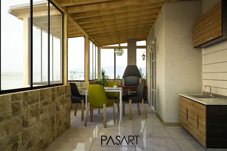 Modern balcony, veranda & terrace by PASART DESİGN Modern Wood Wood effect