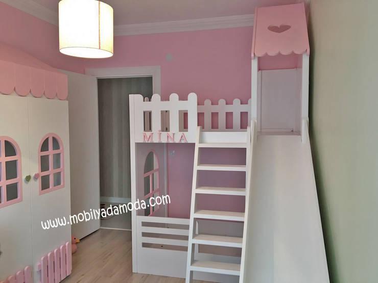 MOBİLYADA MODA  – Özel Tasarım Çocuk Odası, Ev Kaydıraklı Ranza, Mina'nın Odası:  tarz Çocuk Odası, Modern Ahşap Ahşap rengi