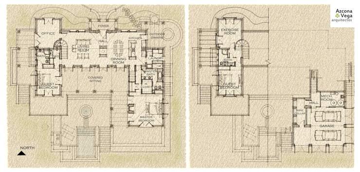 Planos:  de estilo  por Azcona Vega Arquitectos
