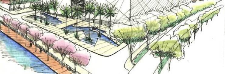 Projectos de Arquitectura Paisagista: Centros de congressos  por ECOSSISTEMAS; Áreas Verdes e Sistemas de Rega.